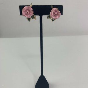 Vintage Trifari Pink Rose Clip On Earrings